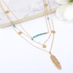 🌺 Layered Boho Feather Chain Necklace